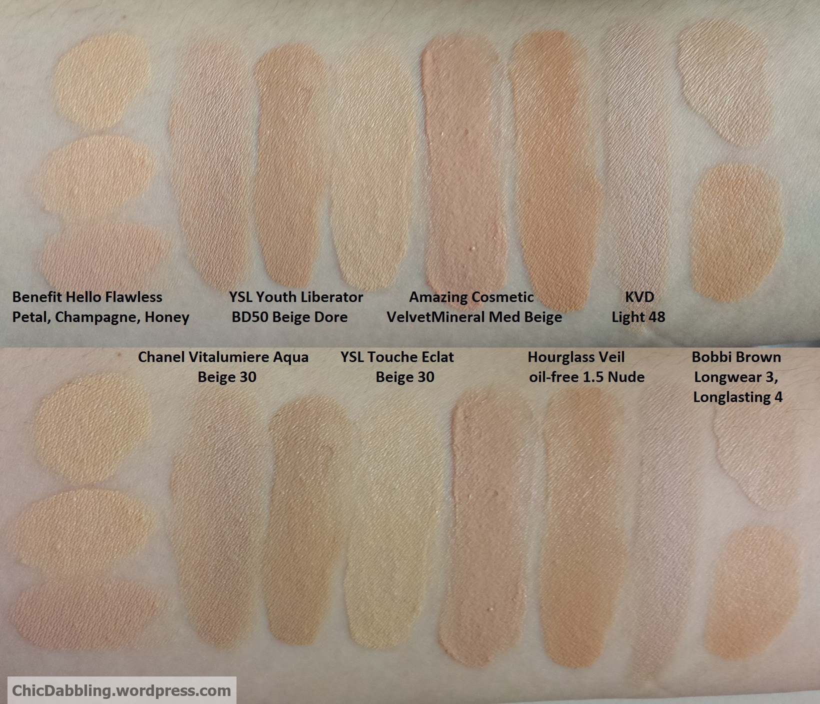 The Quest For Perfect Foundation Swatchfest Part 1 Chic Dabbling